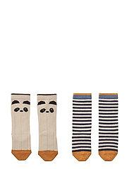 Sofia cotton knee socks - 2 pack - PANDA/STRIPE ECRU