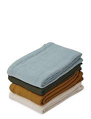 Leon muslin cloth - 4 pack - BLUE MULTI MIX
