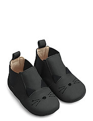 Edith leather slippers - CAT BLACK