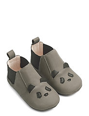 Edith leather slippers - PANDA GREY
