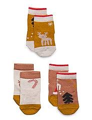 Silas cotton socks - 3 pack - HOLIDAY TUSCANY ROSE MULTI MIX