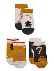 Silas cotton socks - 3 pack - HOLIDAY HUNTER GREEN MULTI MIX