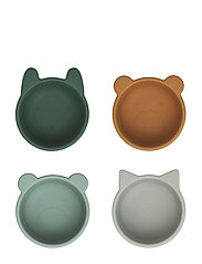 Malene silicone bowl - 4 pack - GREEN MULTI MIX