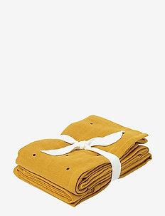 Hannah muslin cloth print 2 pack - towels and cloths - classic dot mustard
