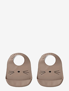 Tilda silicone bib - 2 pack - CAT DARK ROSE