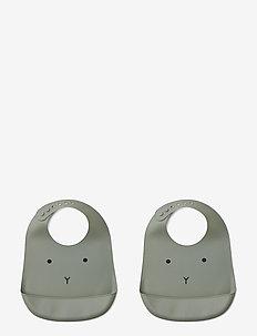 Tilda Silicone Bib 2-Pack - smekke - rabbit faune green