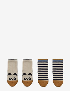 Silas cotton socks - 2 pack - PANDA/STRIPE ECRU