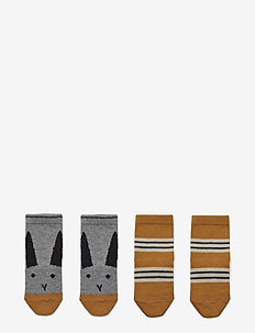 Silas cotton socks - 2 pack - RABBIT/STRIPE MUSTARD