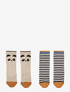 Sofia cotton knee socks - 2 pack - PANDA/STRIPE ECRU