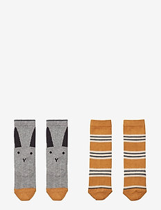 Sofia cotton knee socks - 2 pack - RABBIT/STRIPE MUSTARD