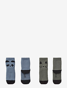 Nellie anti slip socks 2-pack - PANDA BLUE WAVE