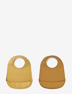Tilda silicone bib solid - 2 pack - bibs - mustard/yellow mellow mix