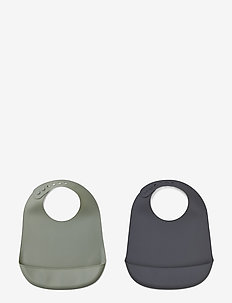 Tilda silicone bib solid - 2 pack - FAUNE GREEN/STONE GREY MIX