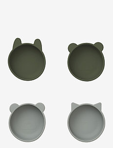 Iggy silicone bowls - 4 pack - plates & bowls - hunter green mix