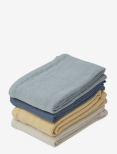 Leon muslin cloth - 4 pack - musselinklær - blue mix