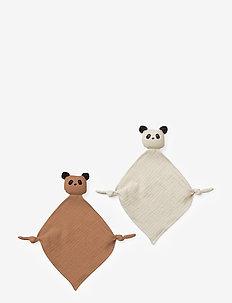 Yoko mini cuddle cloth 2-pack - baby toys - panda tuscany rose/sandy mix