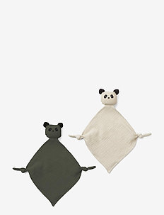 Yoko mini cuddle cloth 2-pack - cuddle blankets - panda hunter green/sandy mix