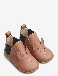 Edith leather slippers - hausschuhe - rabbit tuscany rose