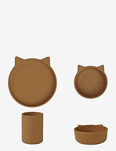 Cyrus silicone junior set - dinner sets - cat mustard