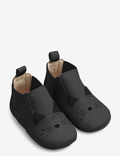 Edith leather slippers - tøfler - cat black