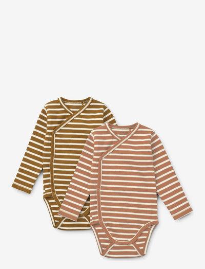 Hali body stocking ls 2-pack - long-sleeved - y/d stripe