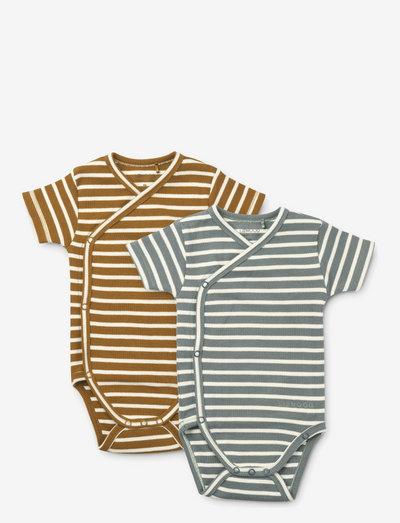 Hali body stocking ss 2-pack - short-sleeved - y/d stripe