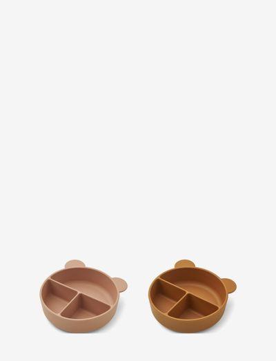 Connie divider bowl 2-pack - plates & bowls - dark rose/mustard mix