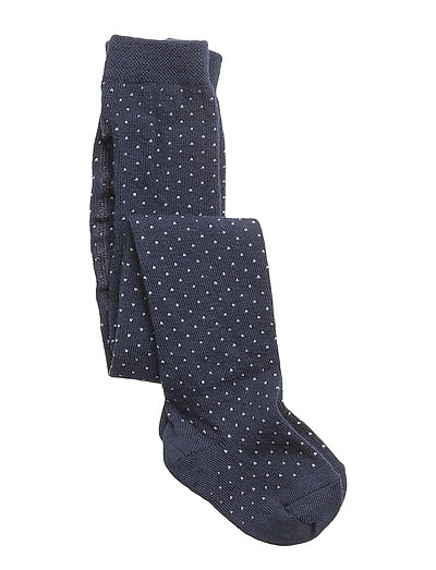 Silje Stockings - NAVY W. CREME DOTS