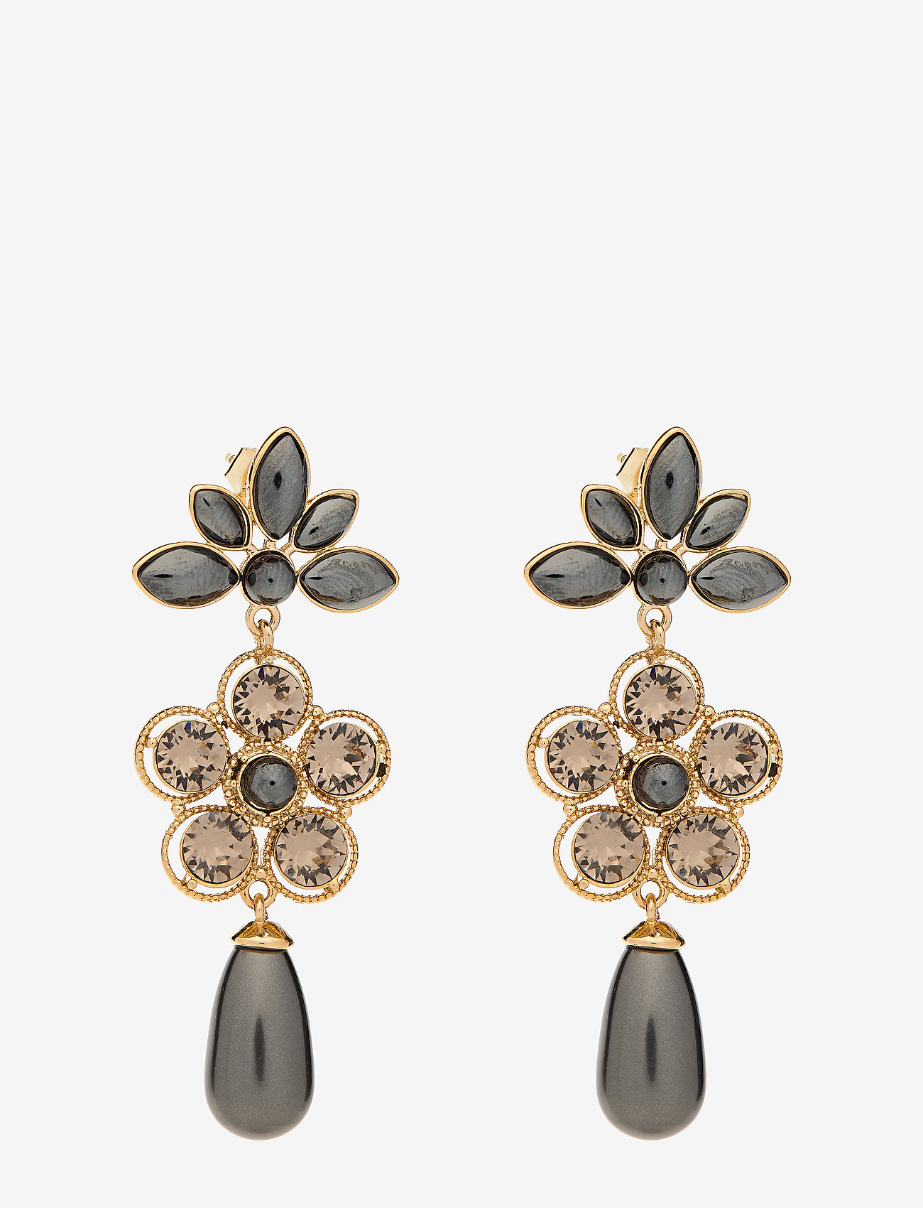 LILY AND ROSE - Aurora pearl earrings - Black pearl - statement - black pearl