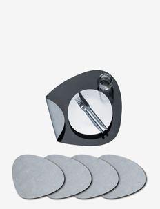 4-Set Table Mat Curve L Double - pöytätabletit & lasinaluset - anthracite & light grey