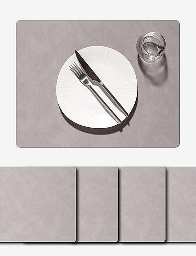 4-Set Table Mat Square L Nupo - bordbrikker - light grey