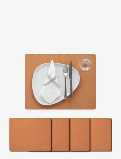 4-Set Table Mat Square L Core - bordbrikker - flecked nature