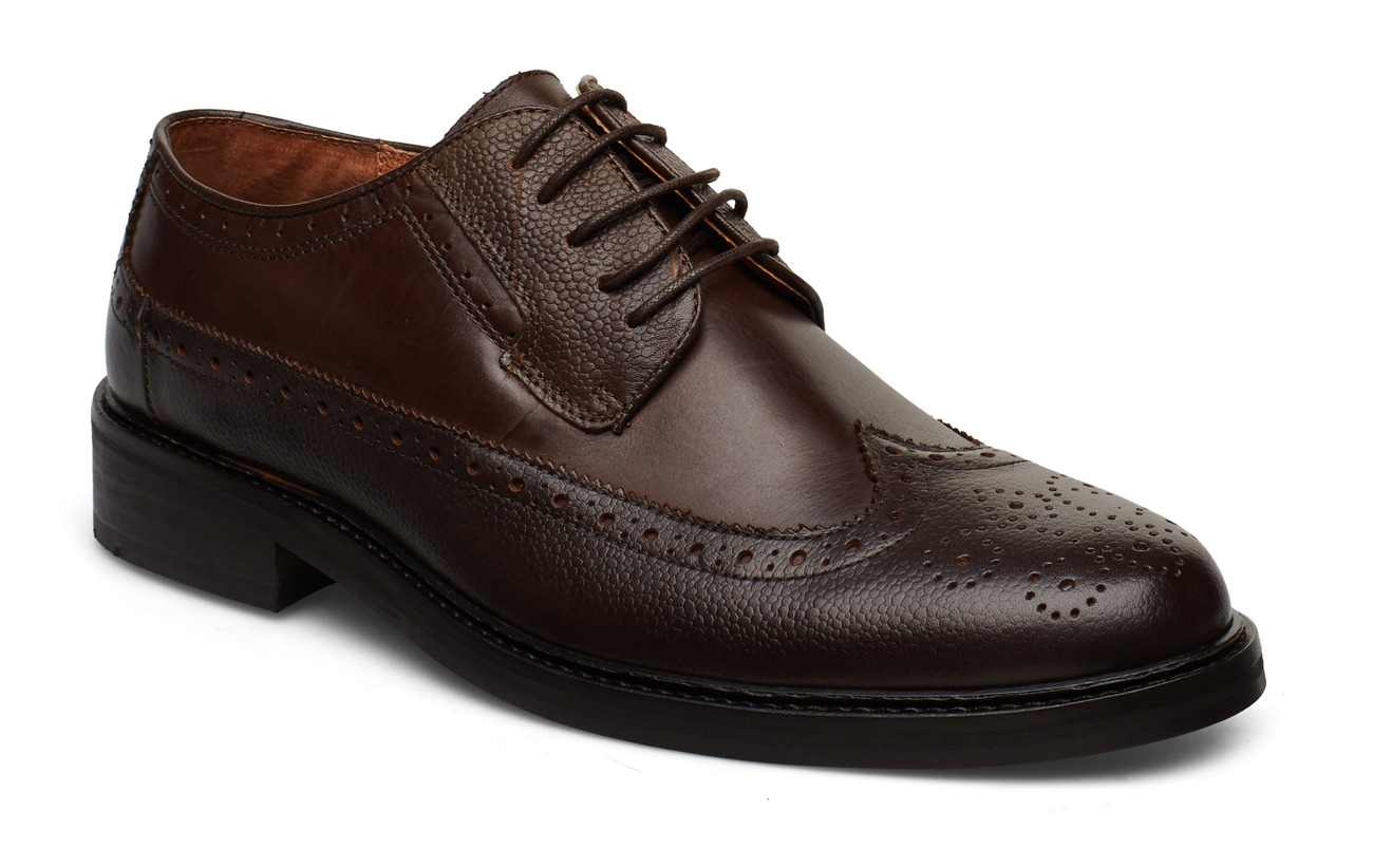 Lindbergh Leather brogue oxford shoe - BROWN