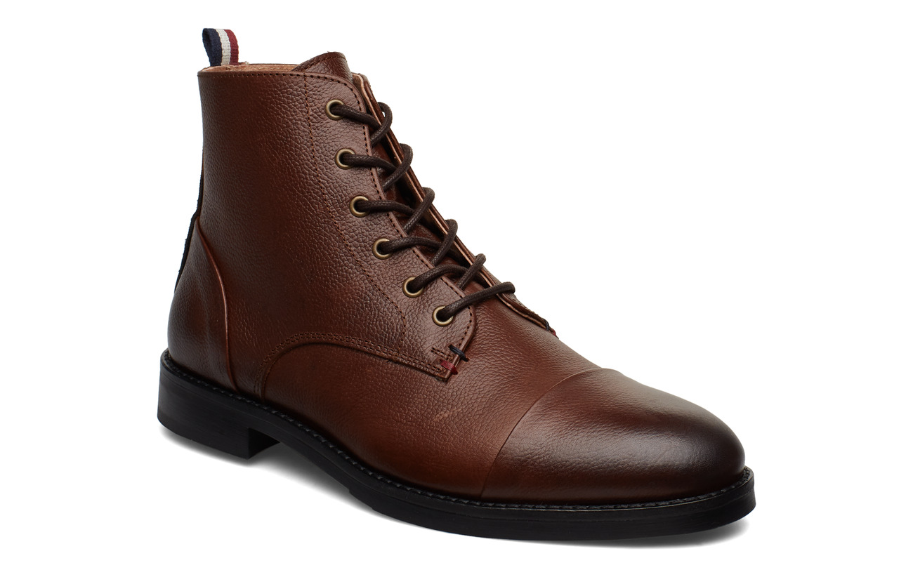 Lindbergh Leather boot with zip - BROWN