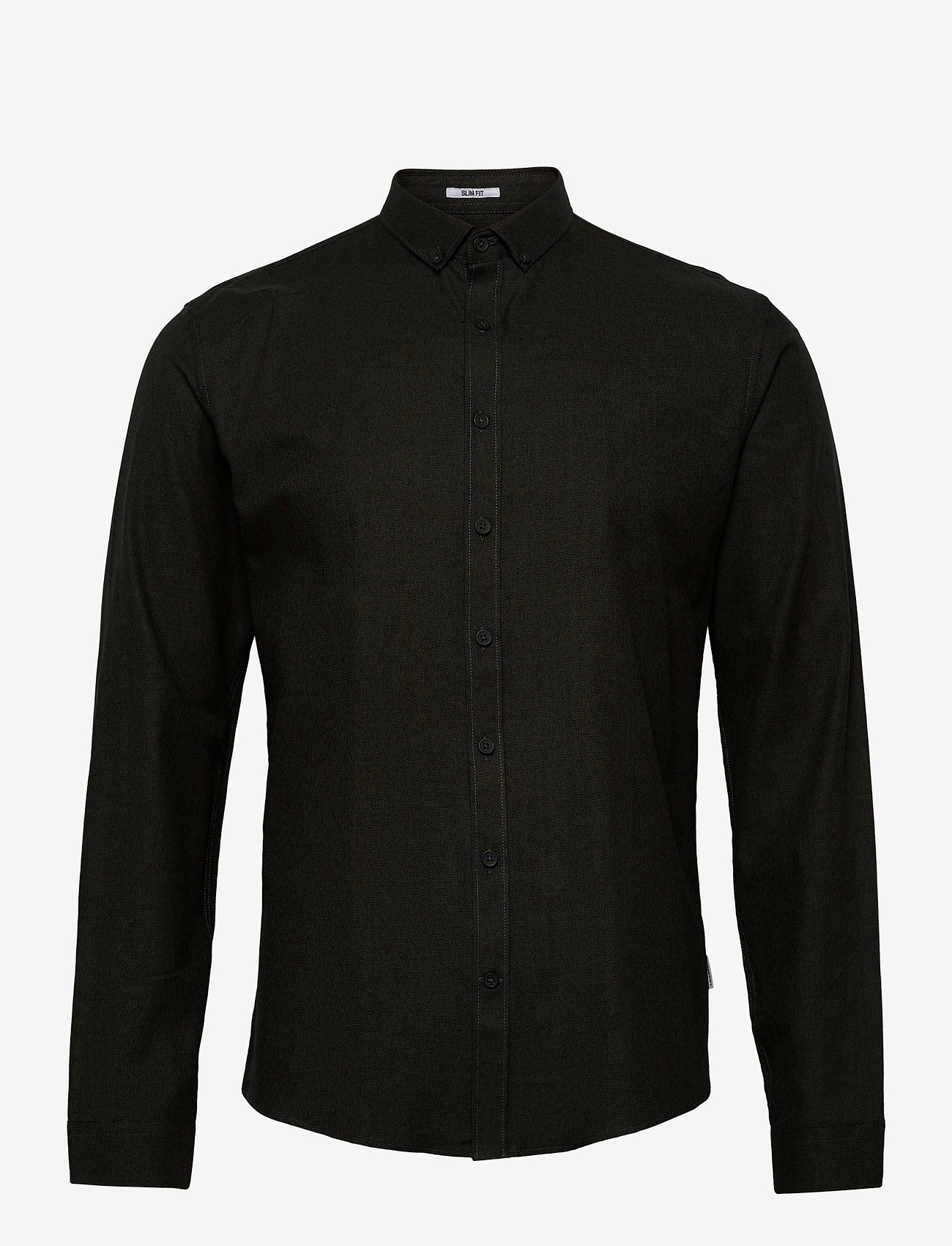 Lindbergh - Mouliné stretch shirt L/S - basic shirts - army - 0