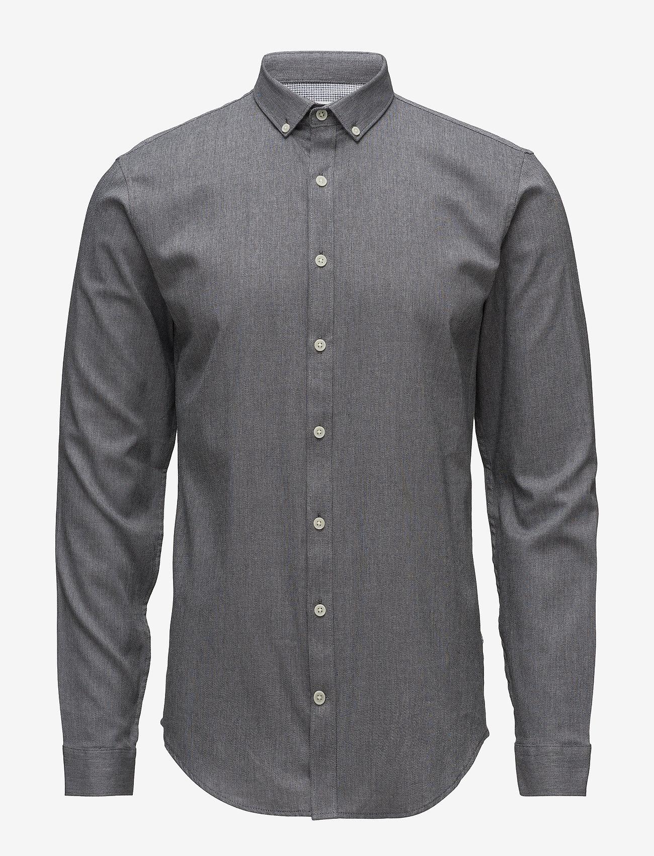 Lindbergh - Mouliné stretch shirt L/S - peruspaitoja - black - 1