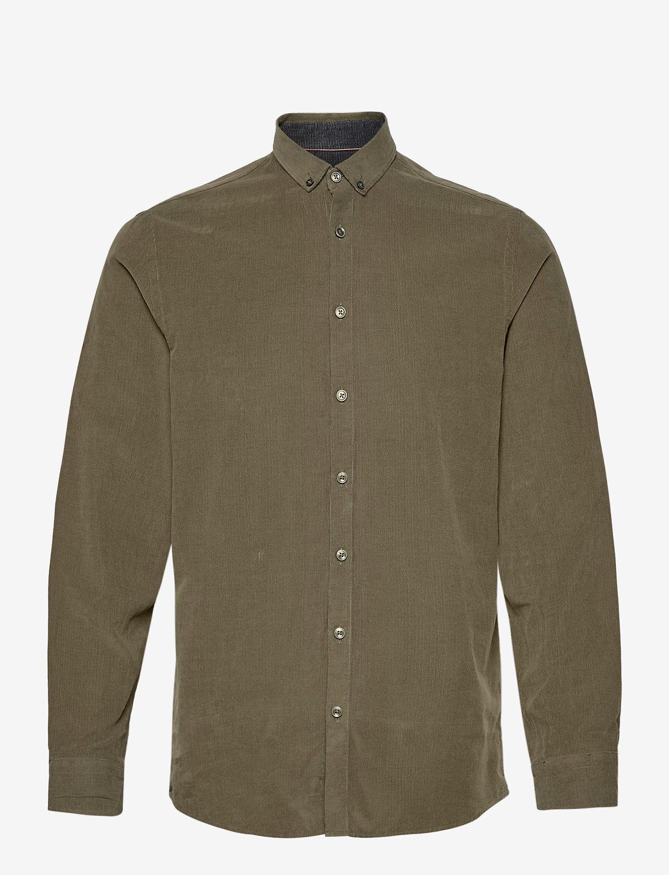 Lindbergh - L/S corduroy shirt - peruspaitoja - army - 1
