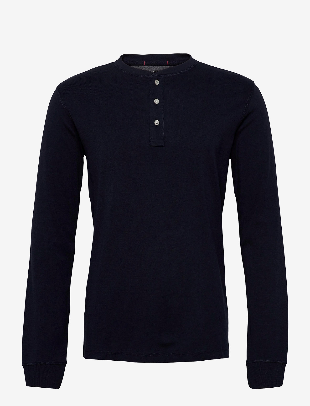 Lindbergh Ribbed granddad L/S - T-skjorter NAVY - Menn Klær