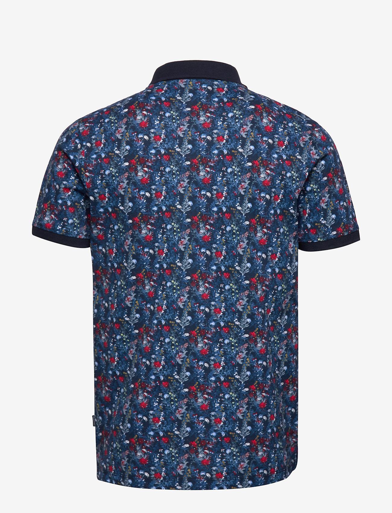 Lindbergh - AOP floral polo S/S - short-sleeved polos - dk blue