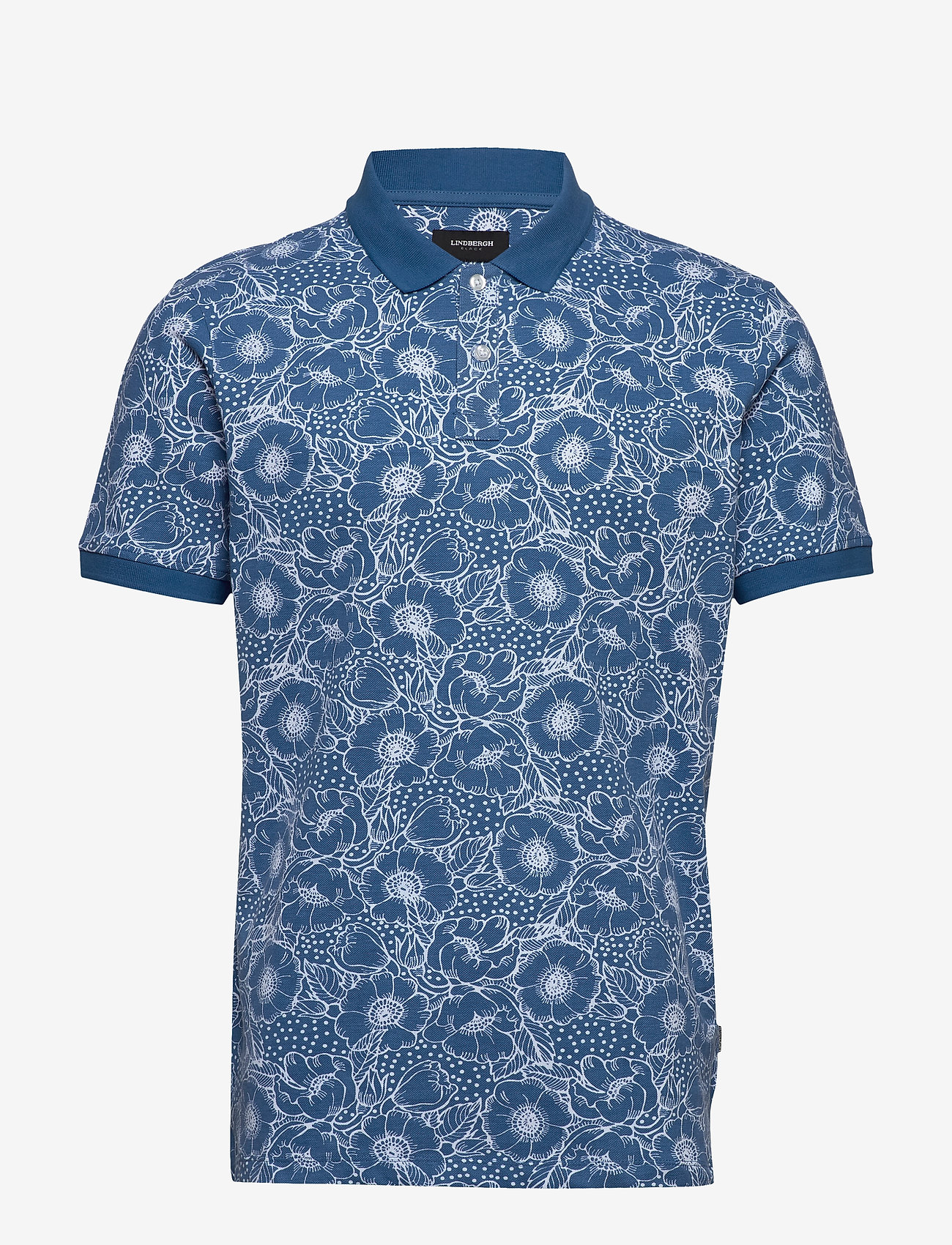 Lindbergh - AOP 2 colour polo S/S - short-sleeved polos - blue
