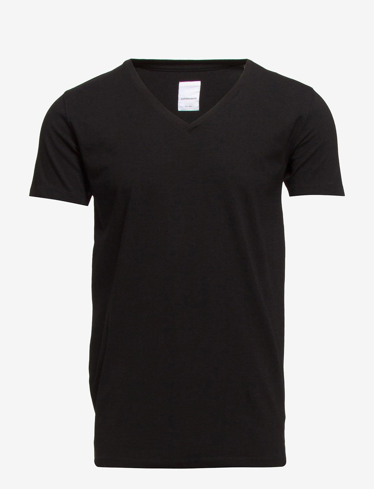 Lindbergh - Mens stretch v-neck tee s/s - lyhythihaiset - black