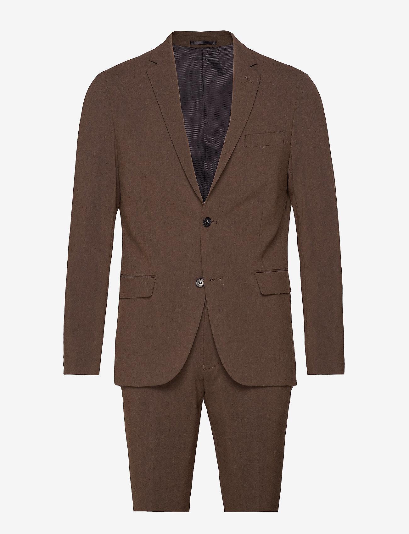 Lindbergh - Plain mens suit - yksiriviset puvut - brown mel - 0