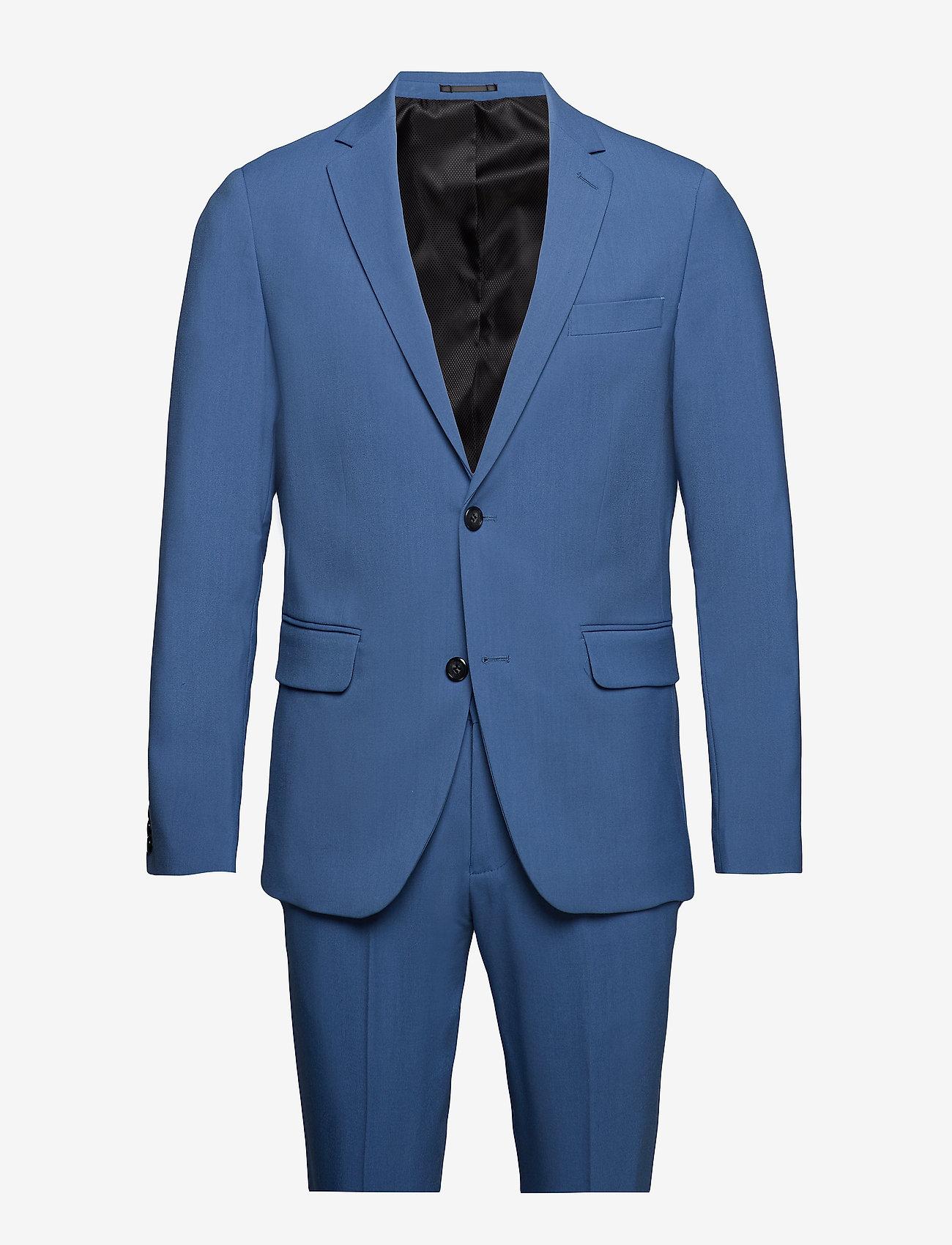 Lindbergh - Plain mens suit - yksiriviset puvut - mid blue - 0