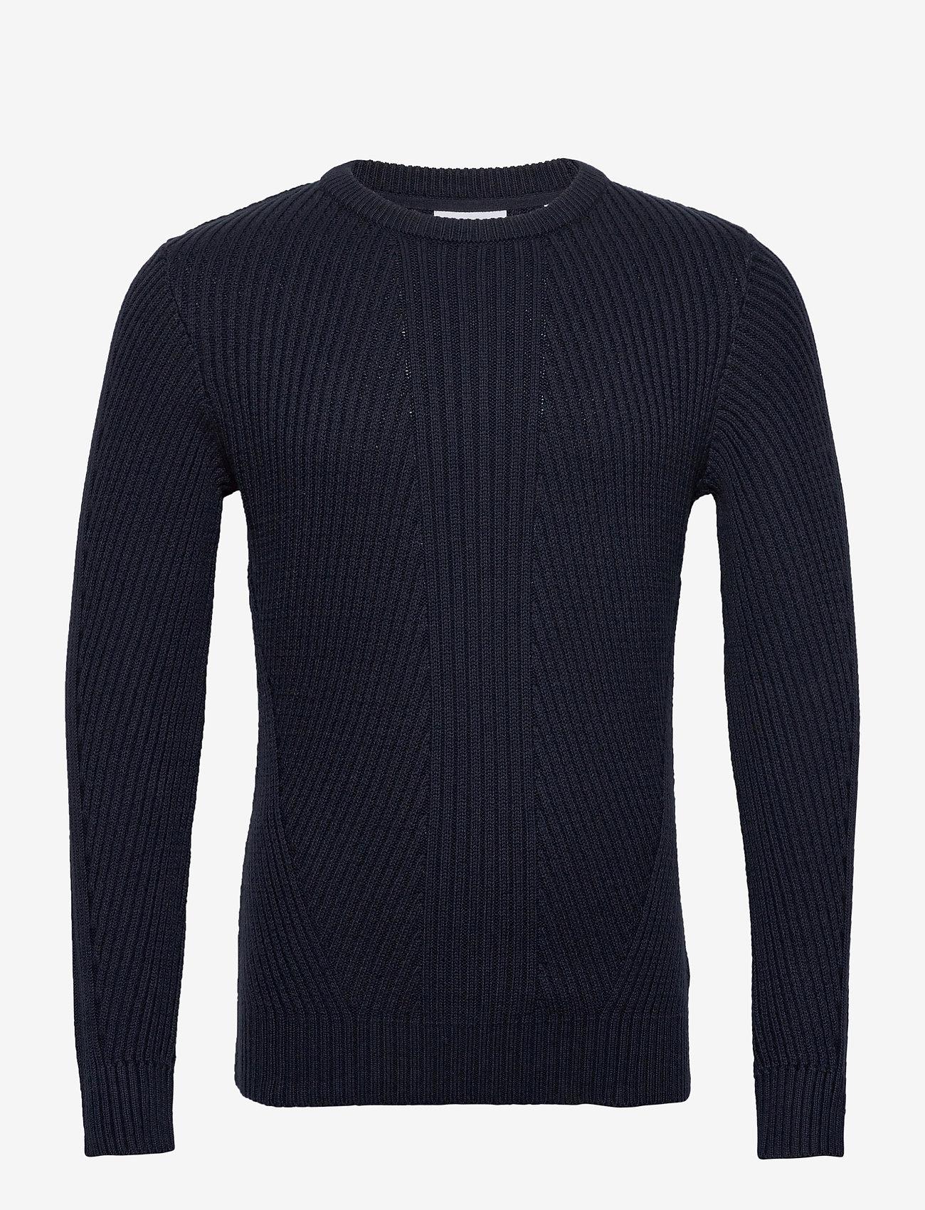 Lindbergh Rib knit - Strikkevarer NAVY - Menn Klær