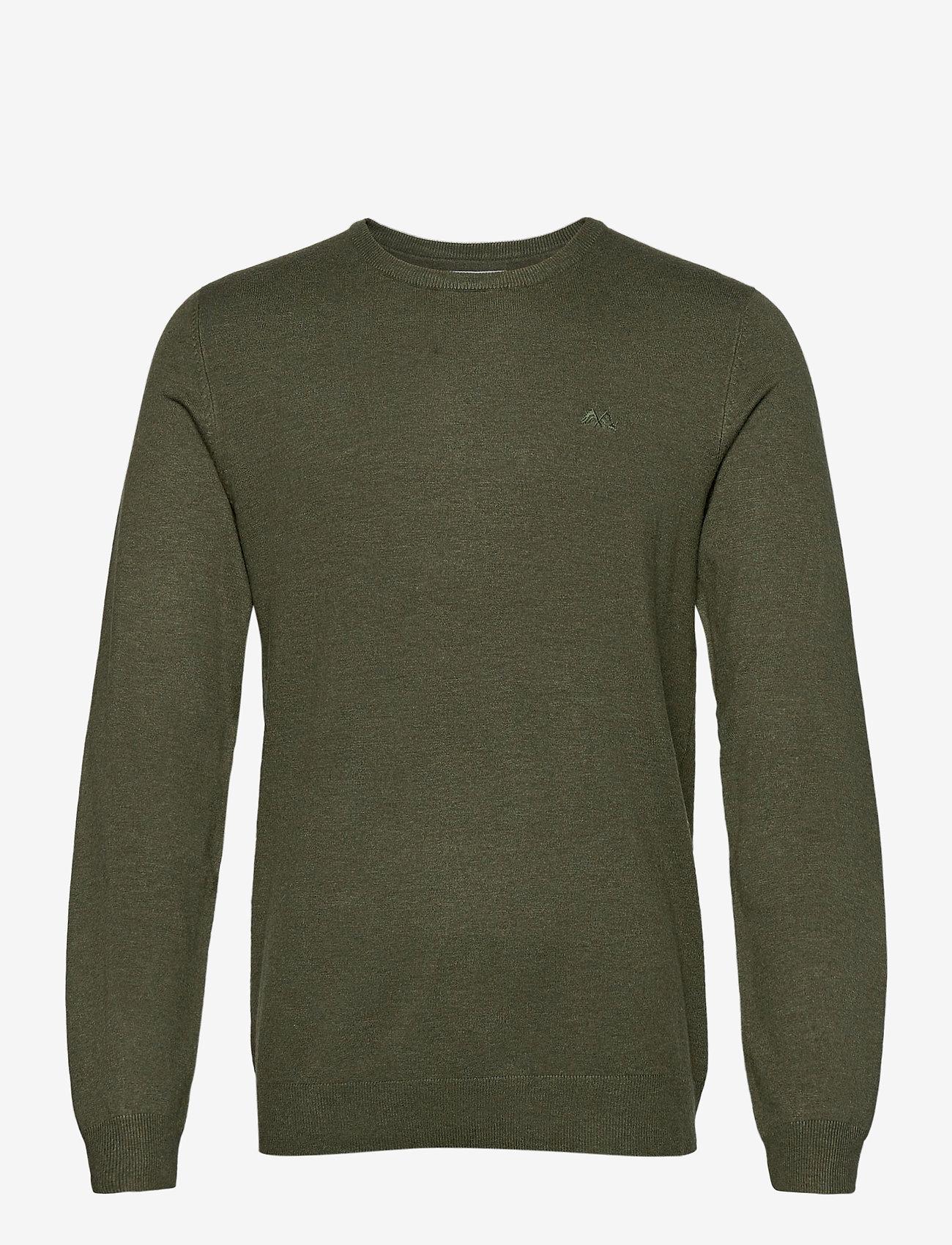 Lindbergh - Mélange round neck knit - perusneuleet - army mel - 1