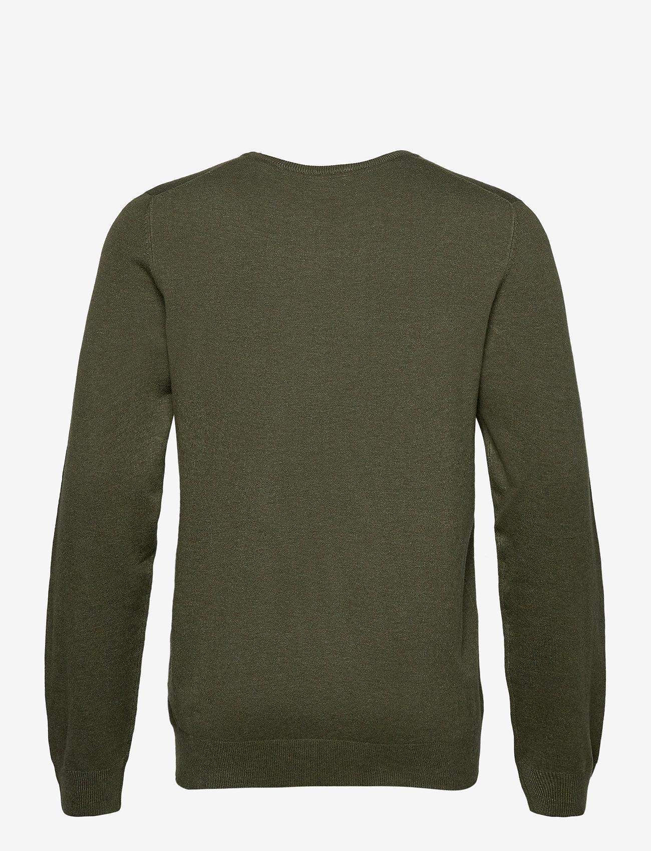 Lindbergh Mélange round neck knit - Strikkevarer ARMY MEL - Menn Klær