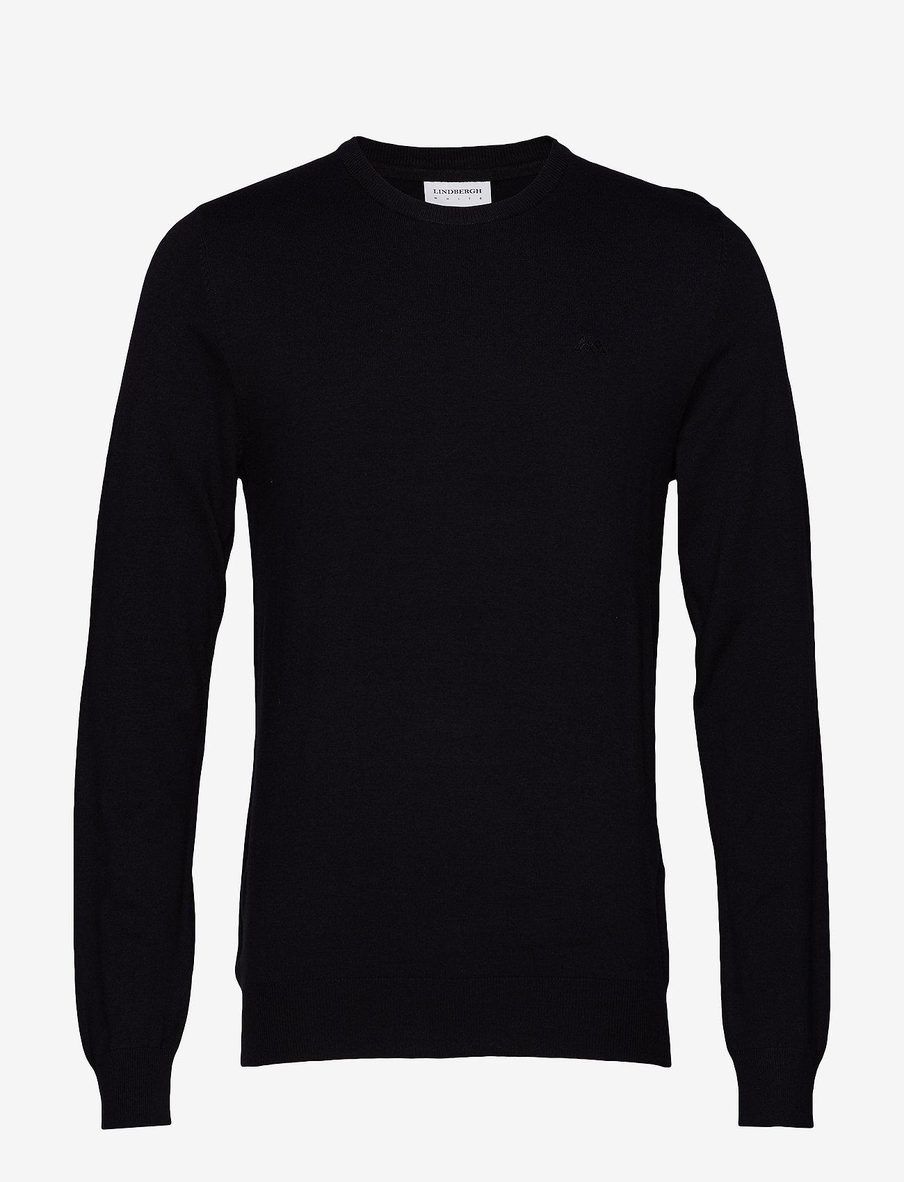 Lindbergh Mélange round neck knit - Strikkevarer BLACK - Menn Klær