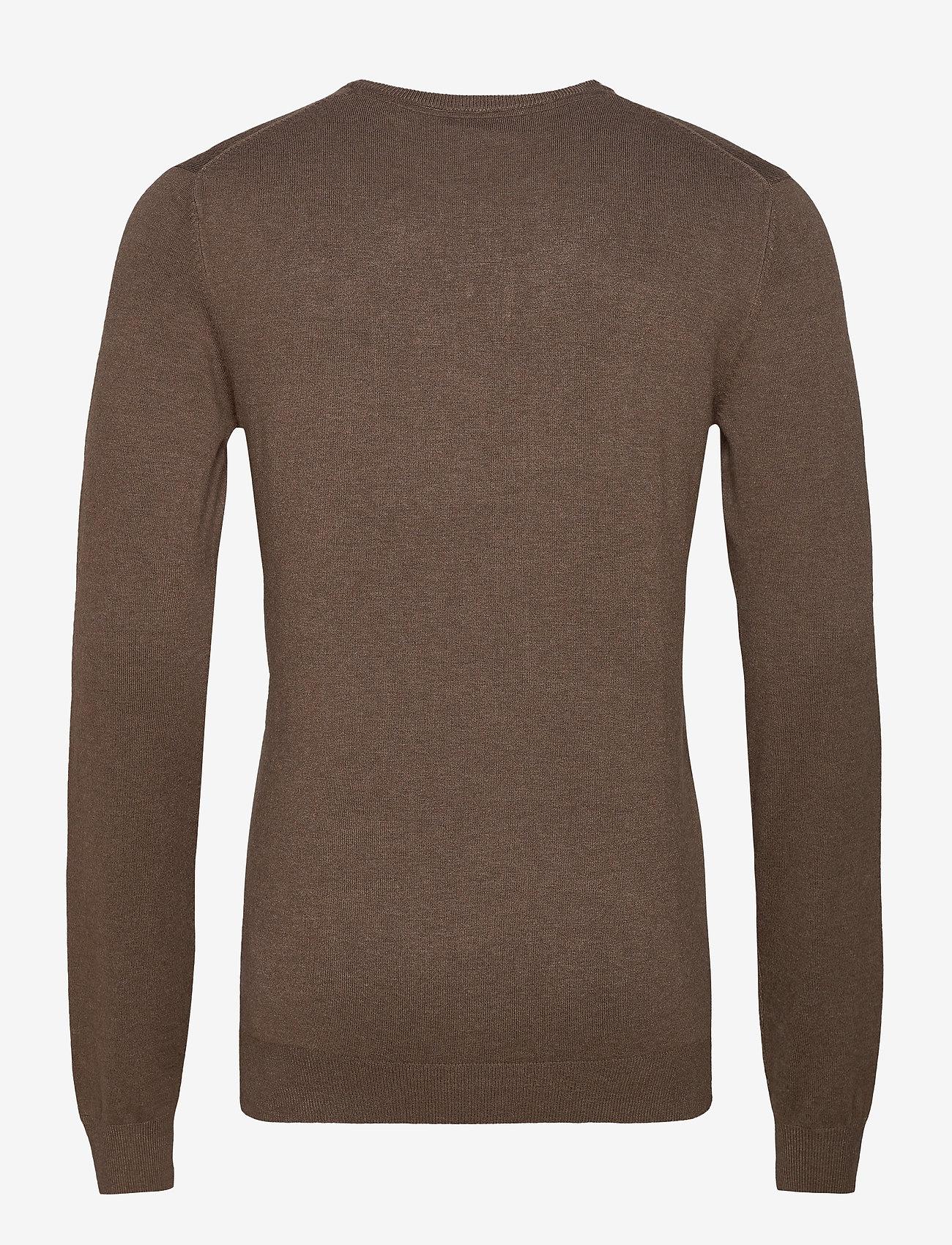 Lindbergh Mélange round neck knit - Strikkevarer BROWN MEL - Menn Klær