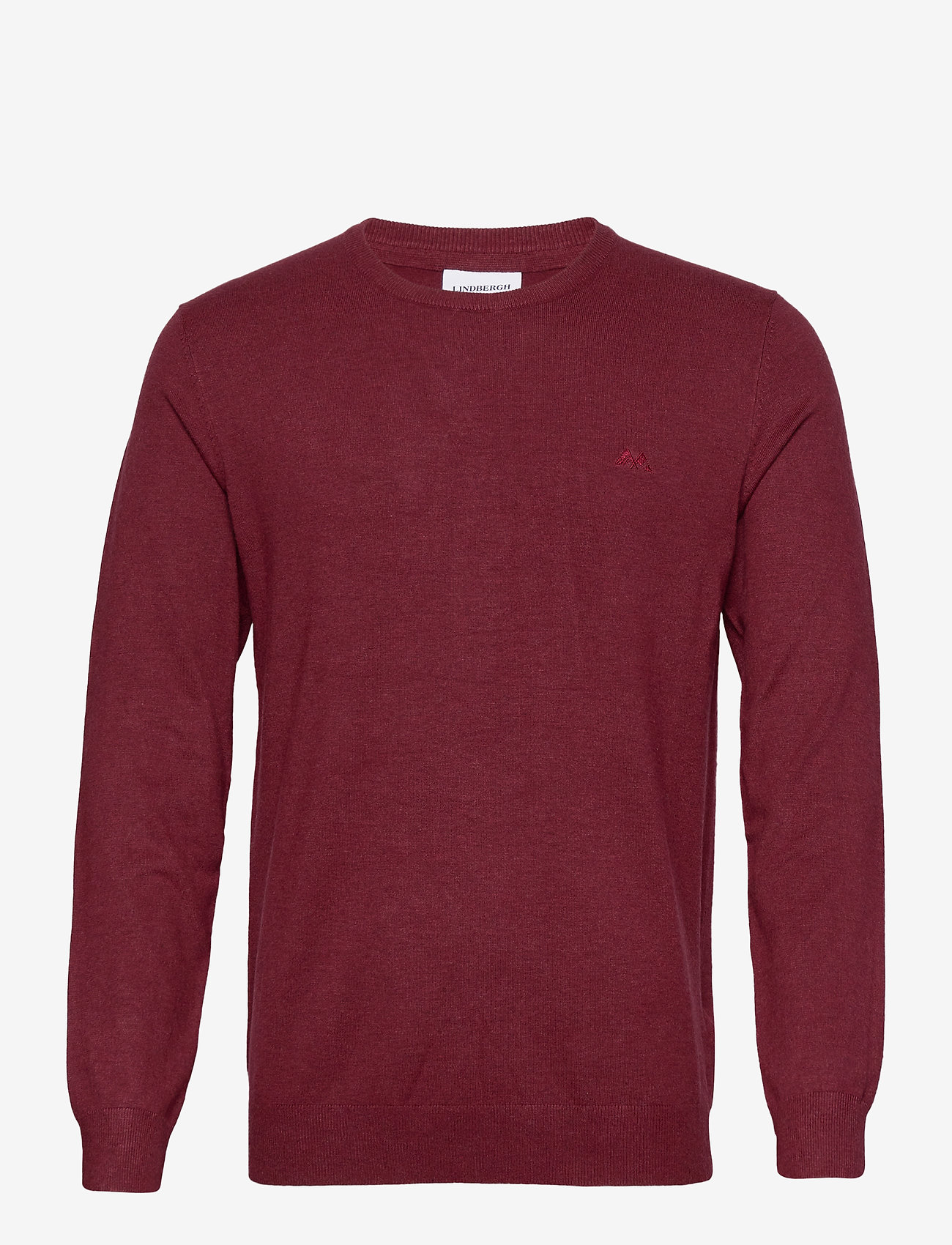 Lindbergh - Mélange round neck knit - perusneuleet - dk red mel - 1