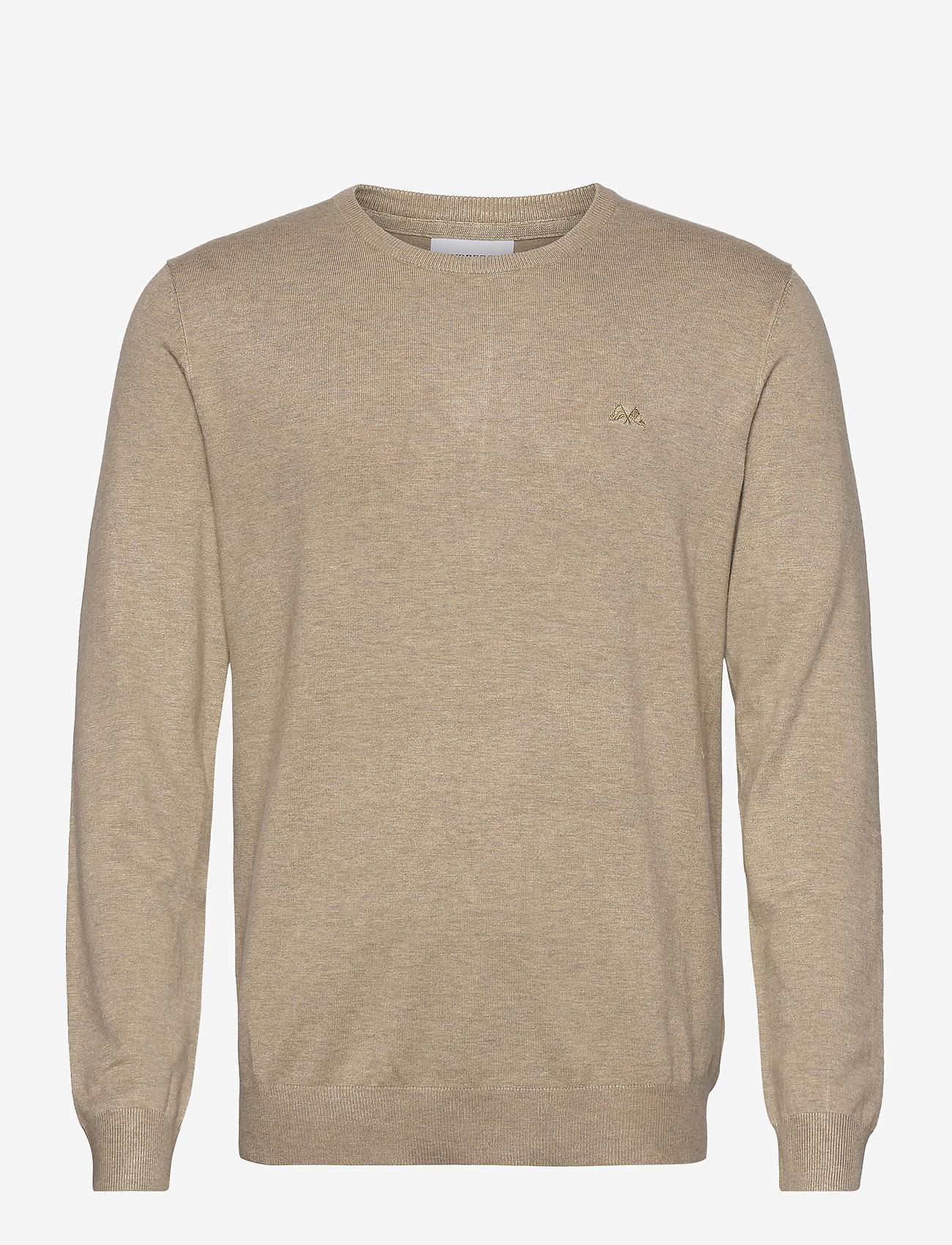 Lindbergh - Mélange round neck knit - perusneuleet - sand mel - 1